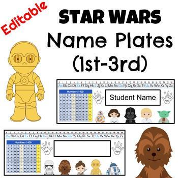 Star Wars Name Plates / Name Tags (1st-3rd) - Editable
