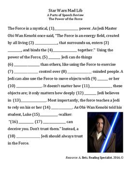 Star Wars Parts of Speech Activity