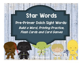 Star Words Pre-Primer Dolch Sight Words: Build a Word, Printing Practice, Games