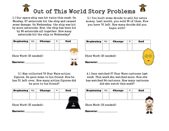 Star Wars Story Problems With Missing Addends and Subtrahends (Differentiated!)
