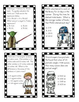 Star Wars Task Cards Grade 5