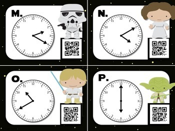 Star Wars Telling Time (to 5 min) Task Cards with QR Codes