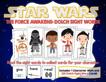 Star Wars The Force Awakens:  Dolch Sight Words Game (with all 220 Dolch Words)