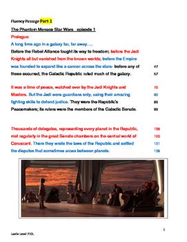 Star Wars-The Phantom Menace  Fluency Passage- 7th Gr.Lvl   Lexile 710L