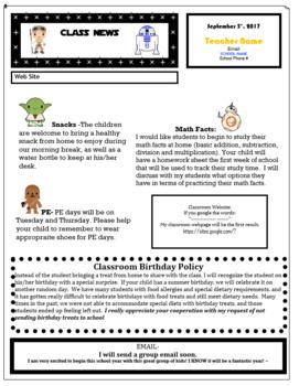 Star Wars Theme Class Newsletter Template Editable