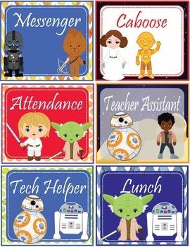 Star Wars Theme Classroom Jobs - EDITABLE