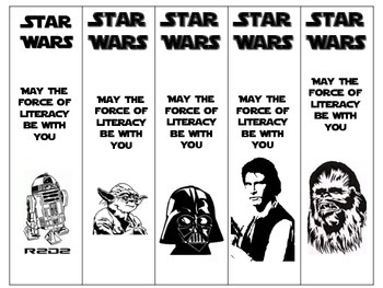 Nerdy image in star wars bookmarks printable