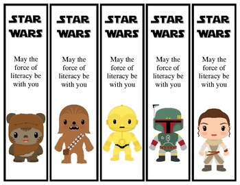 Star Wars Theme Printable Bookmarks 15 different