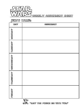 Star Wars Theme Weekly Assignment sheet