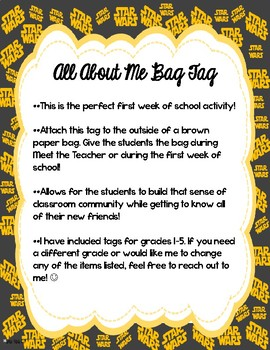 Star Wars Themed All About Me Bag Tags