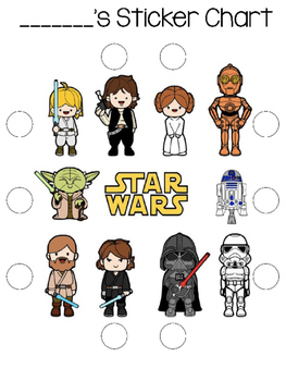 Star Wars Themed Behavior Sticker & Punch Card
