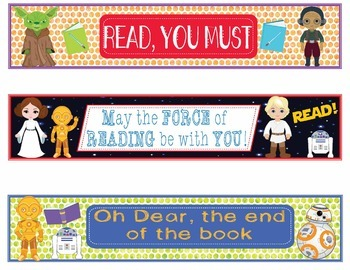 Star Wars Themed Bookmarks, Shelf Markers or Desk Name Plates - EDITABLE