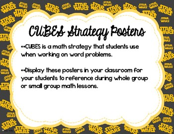 Star Wars Themed CUBES Math Strategy Posters