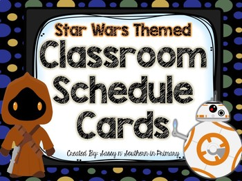 Star Wars Themed Classroom Schedule Cards (Black Polka Dot)