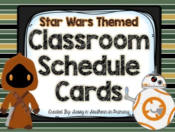 Star Wars Themed Classroom Schedule Cards (Green Striped)