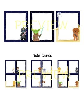 Star Wars Inspired Themed EDITABLE Stationery with Matching Note Cards