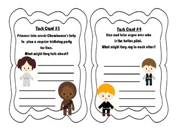 """Star Wars Themed """"Writing Dialogue"""" Task Cards ~ Narrative Writing Practice"""