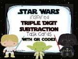 Star Wars 3 Digit Subtraction Task Cards w/QR Codes UPDATE