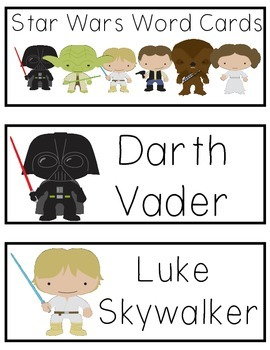 Star Wars Word Cards for Writing Center or Word Wall