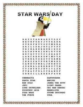 "Star Wars -  Word Search-"" May The Force Be with You"""
