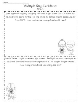 Star Wars inspired math sheets for ccss 4.oa