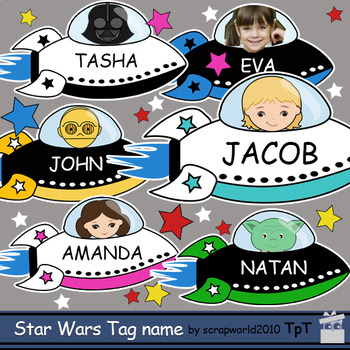 Star Wars theme Tag Name, Label, Desk tags, printable 2 size, 2 designs