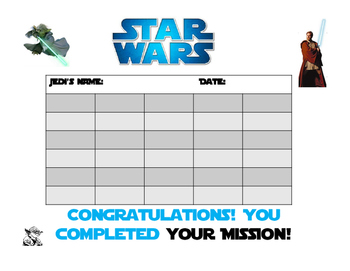 Star Wars theme incentive tracker 2 Sizes Poster and binder homework tracker