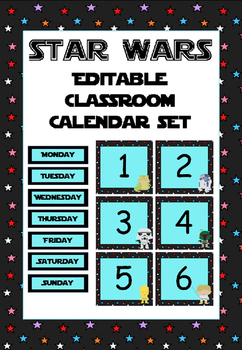Star Wars-themed calendar set (with editable boxes)