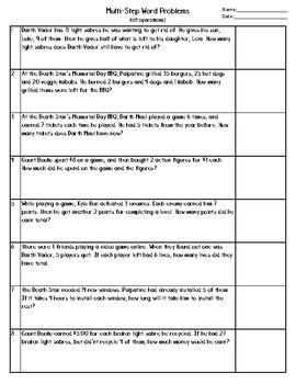 Star Wars themed multi-step math problem worksheet