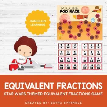 Star Wars Inspired Equivalent Fraction Board Game