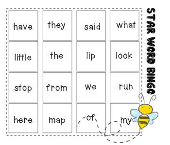 Star Word Bingo