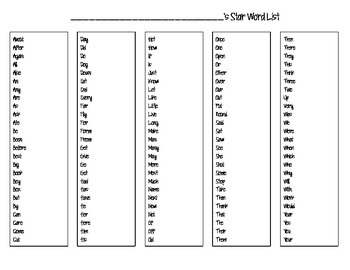 Star Word List- HIGH FREQUENCY WORDS