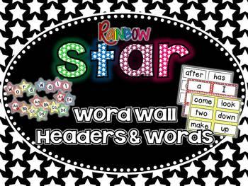 Star Word Wall Headers & 220 Word Wall Words {Editable}