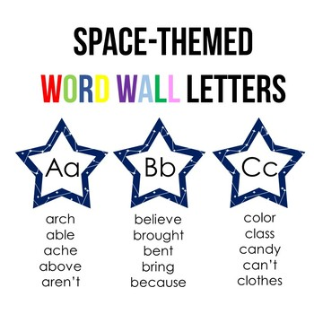 Star Word Wall Headings/Letters (Space Theme)
