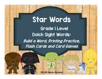 Star Words Grade 1 Dolch Sight Words: Build a Word, Printing Practice, Games