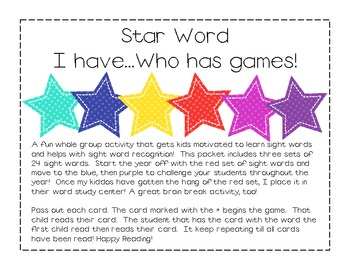 "Star Words ""I Have Who Has"" Game"