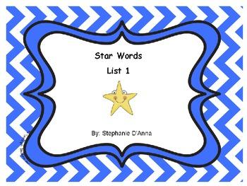 Star Words List 1 Sight Words