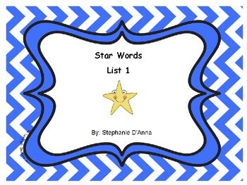 Star Words List 1 Sight Words
