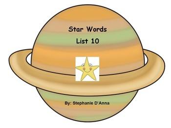 Star Words List 10 Sight Words