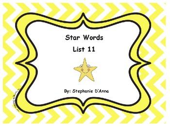 Star Words List 11 Sight Words