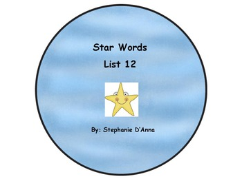Star Words List 12 Sight Words