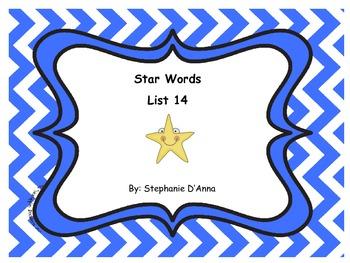 Star Words List 14 Sight Words