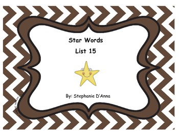 Star Words List 15 Sight Words