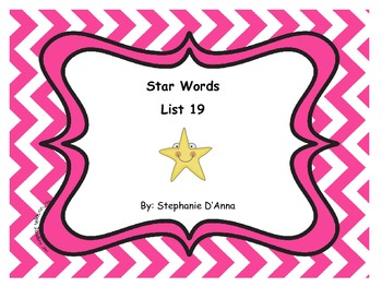 Star Words List 19 Sight Words
