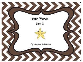 Star Words List 2 Sight Words