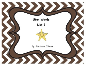 Star Words List 2 Sight Words
