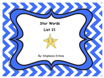Star Words List 21 Sight Words