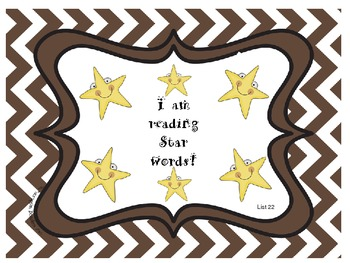 Star Words List 22 Sight Words