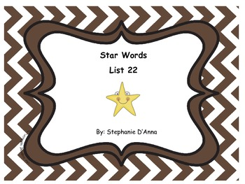 Star Words List 22 Sight Words
