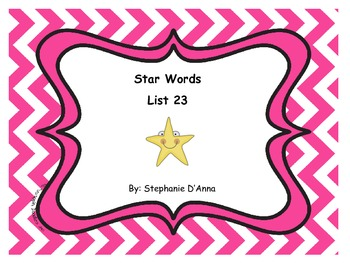 Star Words List 23 Sight Words